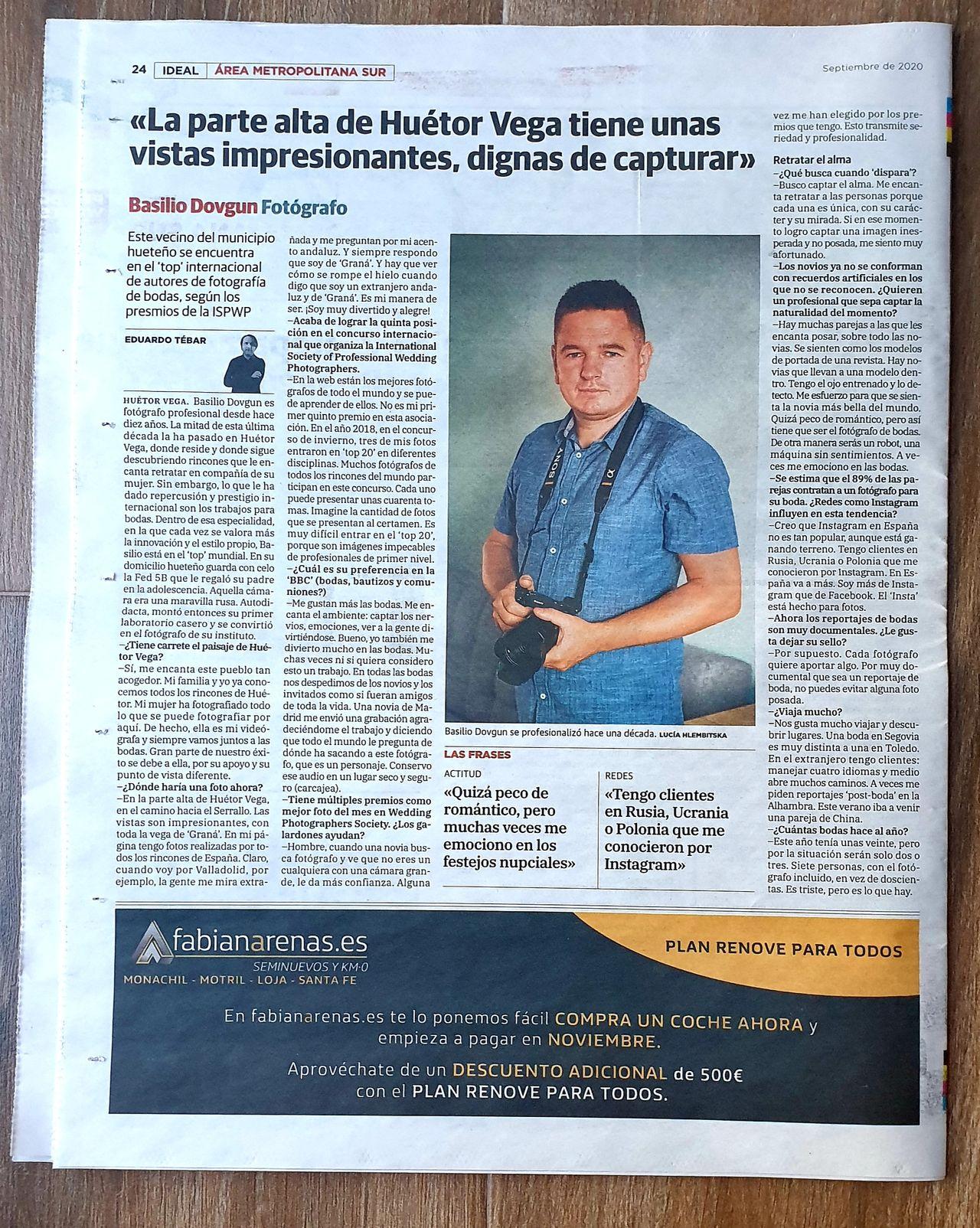 Basilio Dovgun de WedFotoNet en la prensa